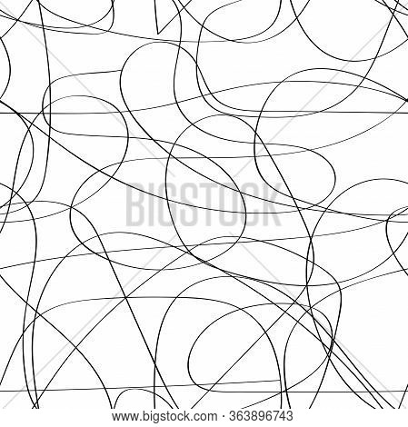 Seamless Messy Monochrome Pattern. Black Continuous Line With Bends And Curls Isolated On A White Ba