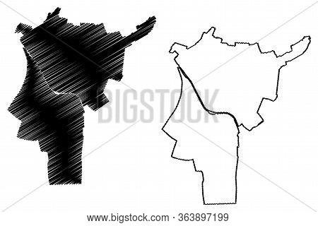 Saint-denis City (french Republic, France) Map Vector Illustration, Scribble Sketch City Of Saint De