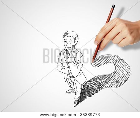 Pencil drawing with quesions and challenges in business