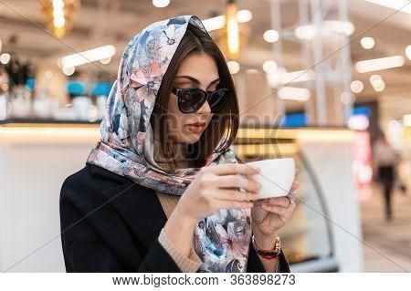 Fashion Model Young Beautiful Woman In Stylish Silk Shawl In Trendy Sunglasses In Black Fashionable