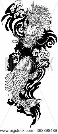 Chinese Or East Asian Dragon With Water Waves And Japanese Koi Carp Fish Swimming Up. Tattoo. Vector
