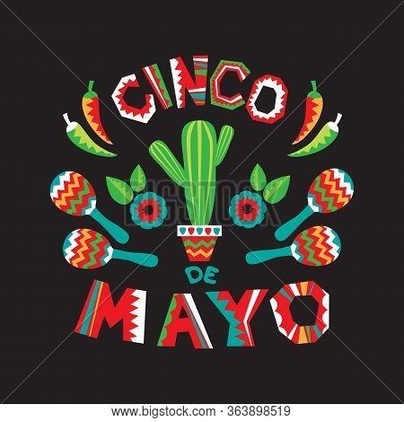 Mexican National Characters: Chilli Papper, Cactus And Maracas. Cinco De Mayo Symbols. Vector Illust
