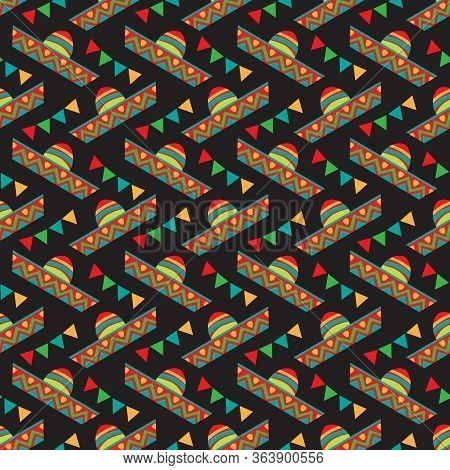 Seamless Pattern With  Cinco De Mayo Symbols. Vector Illustration. Design Elements For Fabric, Banne