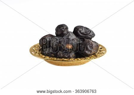 Ajwa Dates Fruits Or Dry Dates Isolated On White Background.ramadan Kareem Breaking The Fast By Eati