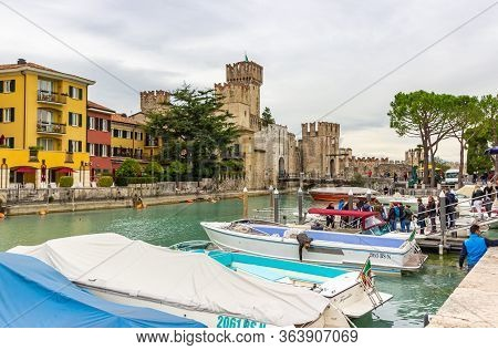 Sirmione, Italy - October 01, 2015 : View Of The Castello Scaligero Fortress, On Lake Garda, From Th