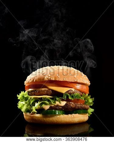 Double Burger Cheeseburger Barbeque Sandwich With Beef  Cheese And Fresh Vegetables Hot With Steam S