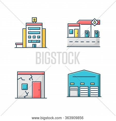 Building Constructions Rgb Color Icons Set. City Hospital Entrance. Gas Station Front View. Ruined S