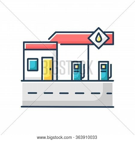 Gas Station Rgb Color Icon. Petrol Pump For Automobile Fuel Refill. Gasoline Fill For Cars Service.