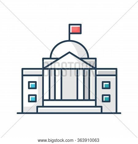 State Institution Front Rgb Color Icon. Supreme Court Building Entrance. National Museum Exterior. U