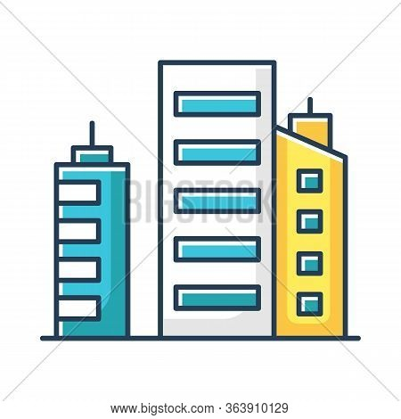 Business Buildings Rgb Color Icon. High Rise Metropolis. Multistorey Apartment Houses. Downtown Dist