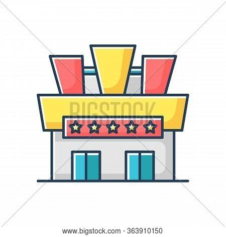 Cinema Rgb Color Icon. Movie Theater Building Exterior. Entertainment Establishment With Stars On Si