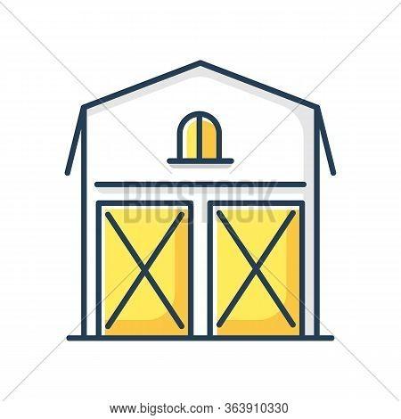 Barn Rgb Color Icon. Farming Storage Construction Facade. Grain Warehouse Exterior. Agriculture Hous