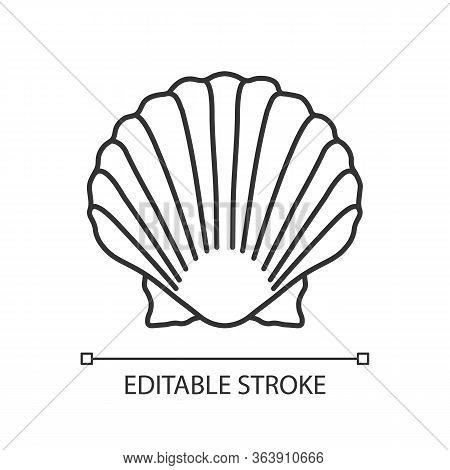 Scallop Shell Pixel Perfect Linear Icon. Exotic Seashell, Decorative Conch. Thin Line Customizable I