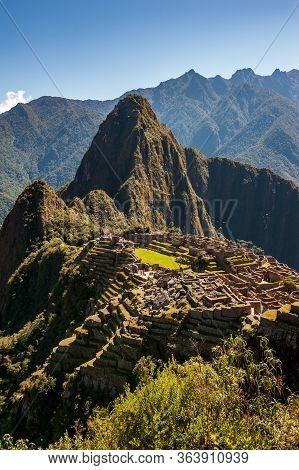 View Of The Ancient City Of Machu Picchu, Peru. Lost Incan City Of Machu Picchu Near Cusco, Peru. Pe