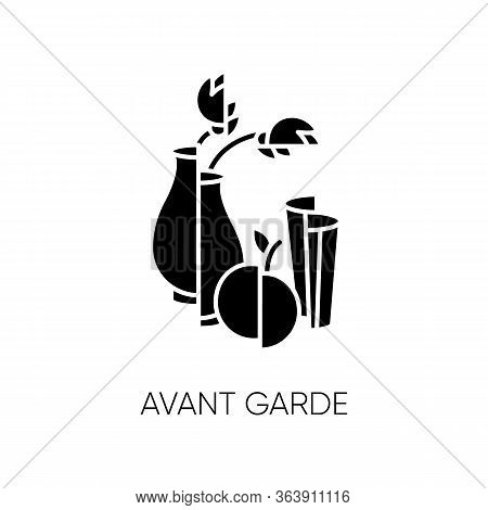 Avant Garde Black Glyph Icon. French Cultural Movement. Visual Art Abstract Style. Still Life Painti