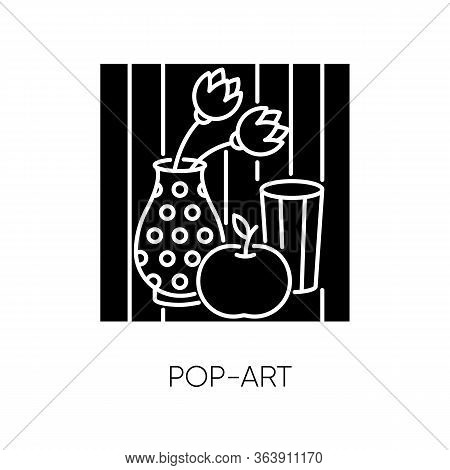 Pop Art Black Glyph Icon. Contemporary Cultural Movement. Modern Painting In Popular Style. Abstract