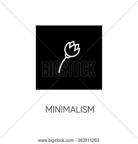 Minimalism Style Black Glyph Icon. Cultural Movement. Visual Art, Primitivism. Flower Painting. Bota