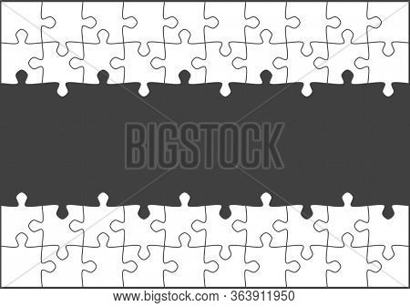 Blank white jigsaw puzzle with copy space in the middle