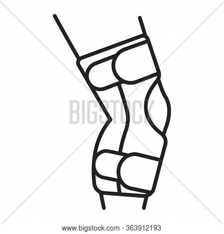Human Knee Orthosis Medical Equipment Line Black Icon. Orthopedic Leg Joint Bandage. Isolated Vector