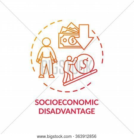 Socioeconomic Disadvantage Concept Icon. Social Classes Inequality, Low Income Problem, Financial Cr