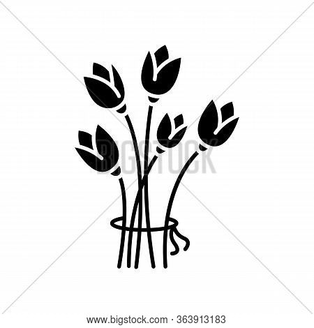 Flowers Black Glyph Icon. Bouquet For Greeting. Romantic Present. Blooming Tulips. Flourishing Bloss
