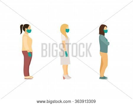 Social Distance. Full Length Of Cartoon Sick People Women In Medical Masks And Gloves Standing In Li