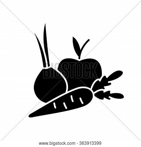 Fruits And Vegetables Black Glyph Icon. Fresh Organic Food. Health Vegetarian Recipe Ingredients. Pr