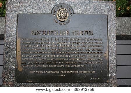 New York, Usa - August 23, 2018: Rockefeller Center Information Metal Plaque, Rockefeller Plaza In T