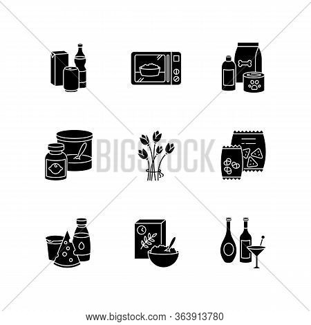 Grocery Sections Black Glyph Icons Set On White Space. Beverages In Packages. Microwave Food. Pet Ca