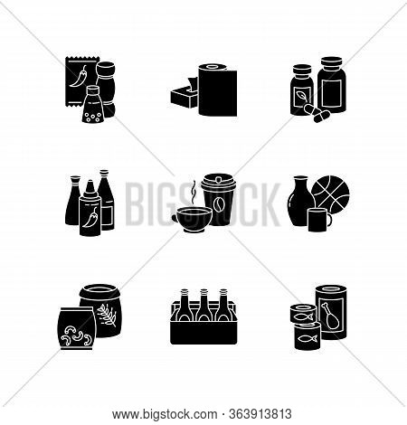Groceries Black Glyph Icons Set On White Space. Condiments For Cooking. Paper Products. Pharmaceutic