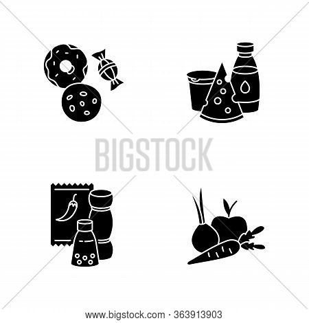 Supermarket Food Black Glyph Icons Set On White Space. Candy And Cookies. Peper In Pack. Sweet Pastr
