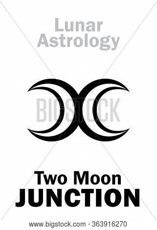 Astrology Alphabet: Two Moon Junction. Astrological Hieroglyphic Sign Of Lunar Magic. Mystical Symbo