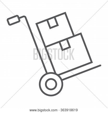 Hand Truck With Cardboard Boxes Thin Line Icon, Logistic And Delivery, Hand Dolly Sign Vector Graphi