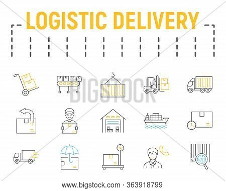 Logistics Shipping Color Line Icon Set, Delivery Symbols Collection, Vector Sketches, Logo Illustrat