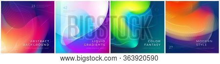 Set Of Square Liquid Color Abstract Geometric Shapes. Fluid Gradient Elements For Minimal Banner, Lo