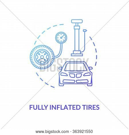 Fully Inflated Tire Blue Concept Icon. Auto Mechanic Service. Tyre Pressure Control With Equipment.