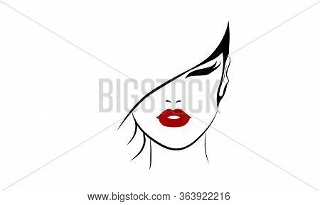 Vector Illustration Of A Woman With A Red Lips