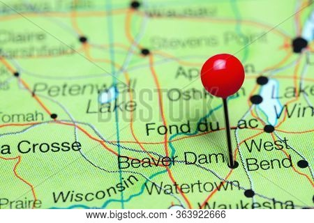 Beaver Dam Pinned On A Map Of Wisconsin, Usa