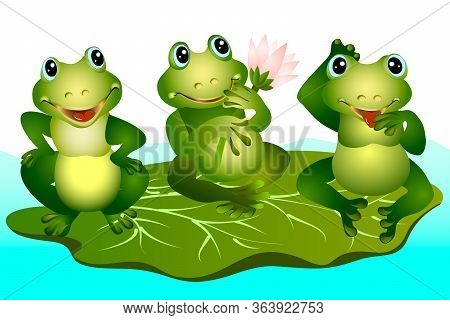 Set Of Funny Green Frogs.vector Illustration With A Set Of Green Frogs.