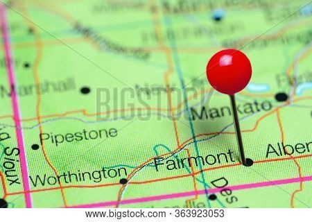 Fairmont Pinned On A Map Of Minnesota, Usa