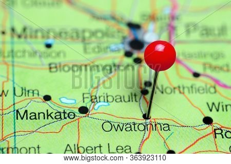 Owatonna Pinned On A Map Of Minnesota, Usa