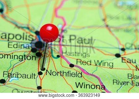 Northfield Pinned On A Map Of Minnesota, Usa