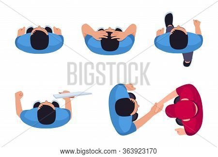 Man Position Flat Vector Illustrations Set. Person Moving Forward. Man Shake Hands With Deliveryman.