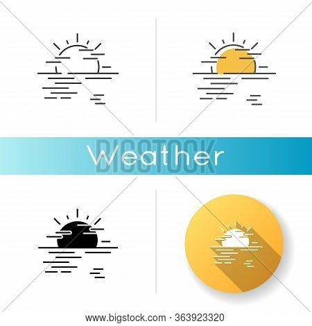 Sea Haze Icon. Linear Black And Rgb Color Styles. Morning Fog, Meteorological Forecast, Misty Weathe