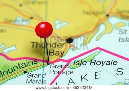 Grand Portage Pinned On A Map Of Minnesota, Usa