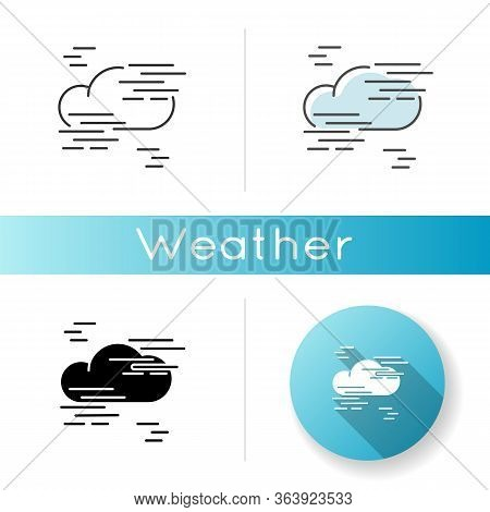 Fog Icon. Linear Black And Rgb Color Styles. Foggy Weather, Meteorological Forecast. Atmosphere Humi