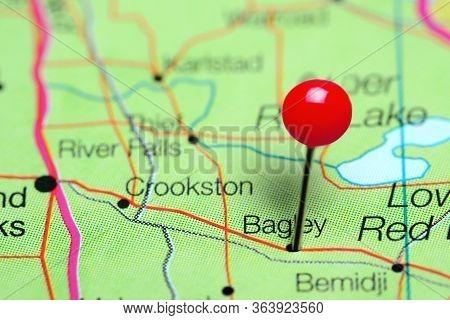 Bagley Pinned On A Map Of Minnesota, Usa