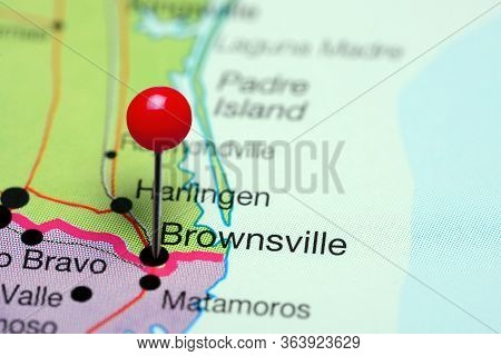 Brownsville Pinned On A Map Of Texas, Usa