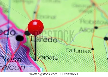 Zapata Pinned On A Map Of Texas, Usa