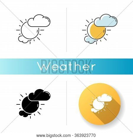 Partly Cloudy Icon. Linear Black And Rgb Color Styles. Daytime Weather Forecast, Meteorological Pred